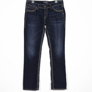 Silver Jeans Suki Dark Washed Embroidered Plus 32